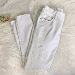 WHBM Skinny Crop Jeans White Embroidery 00P